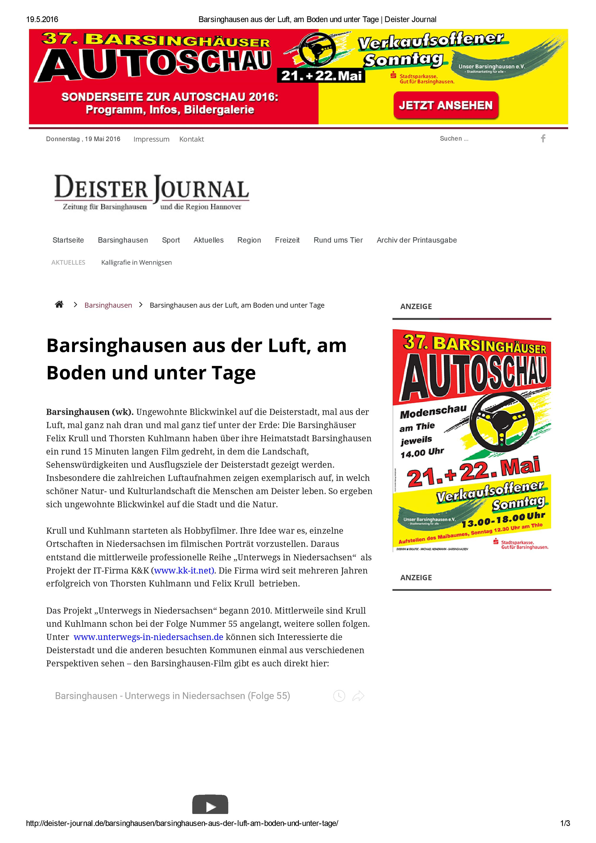 Barsinghausen aus der Luft, am Boden und unter Tage
