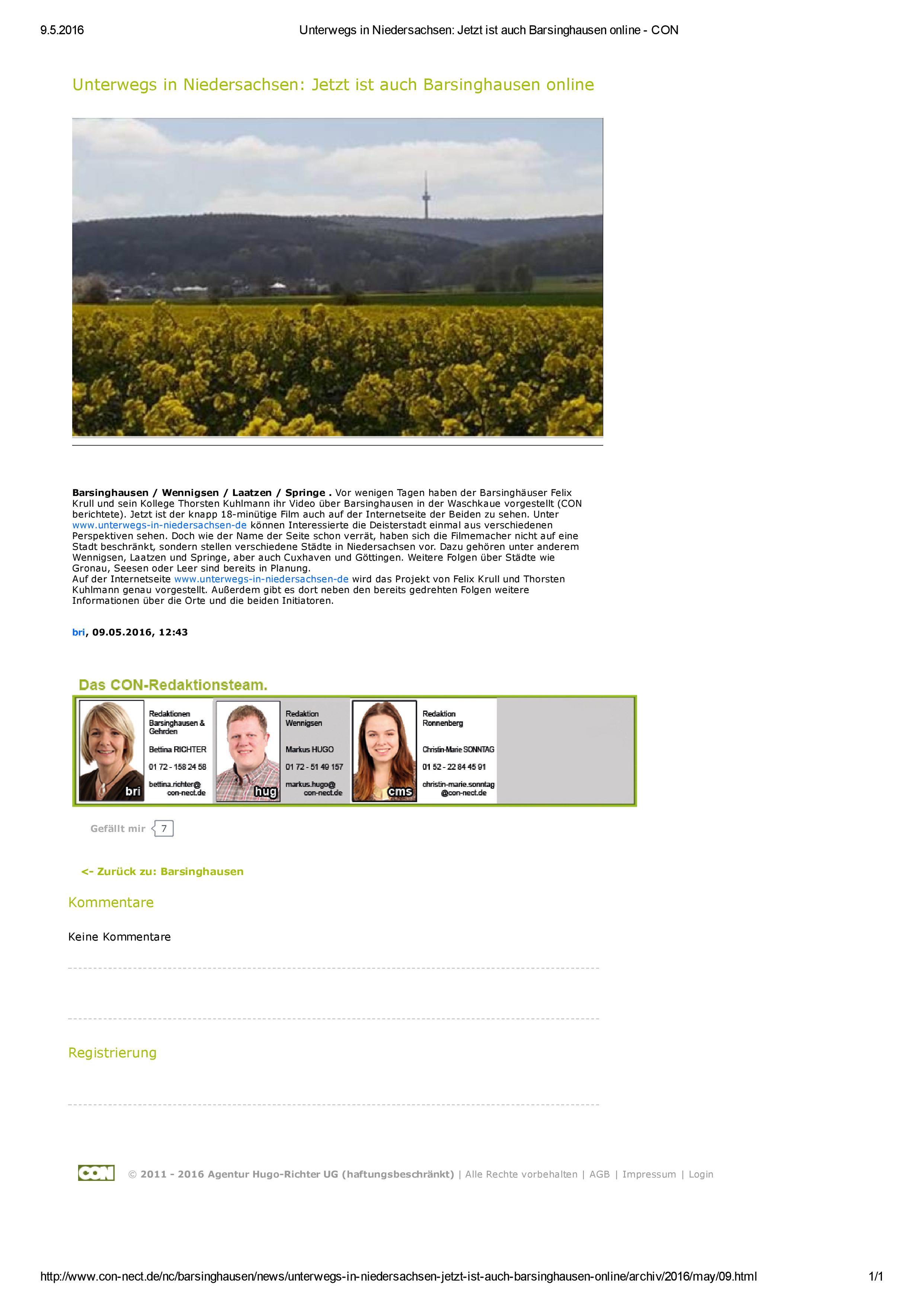 Unterwegs in Niedersachsen: Jetzt ist auch Barsinghausen online